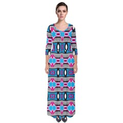 Blue Pink Shapes Rows Jpg                                                         Quarter Sleeve Maxi Dress by LalyLauraFLM