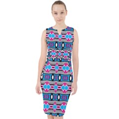 Blue Pink Shapes Rows Jpg                                                         Midi Bodycon Dress by LalyLauraFLM