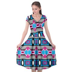 Blue Pink Shapes Rows Jpg                                         Cap Sleeve Wrap Front Dress