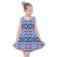 Blue Pink Shapes Rows Jpg                                                    Kids  Summer Dress by LalyLauraFLM
