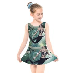 Wonderful Dark Mermaid With Awesome Orca Kids  Skater Dress Swimsuit