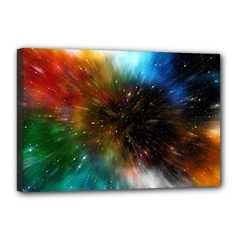 Universe Galaxy Sun Star Movement Canvas 18  X 12  (stretched) by Simbadda