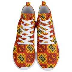Squares And Other Shapes Pattern                                              Men s Lightweight High Top Sneakers