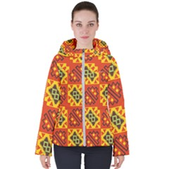 Squares And Other Shapes Pattern                                                      Women s Hooded Puffer Jacket by LalyLauraFLM