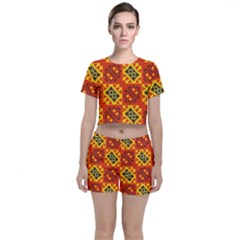 Squares And Other Shapes Pattern                                                 Crop Top And Shorts Co-ord Set by LalyLauraFLM