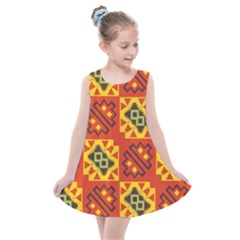 Squares And Other Shapes Pattern                                                    Kids  Summer Dress
