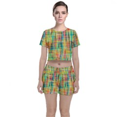 Yellow Blue Red Stripes                                                  Crop Top And Shorts Co Ord Set