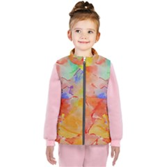 Orange Red Yellow Watercolors Texture                                                  Kid s Puffer Vest