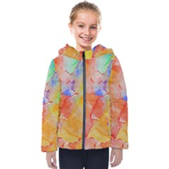Orange Red Yellow Watercolors Texture                                                       Kids  Hooded Puffer Jacket
