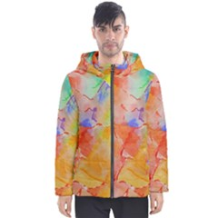 Orange Red Yellow Watercolors Texture                                                        Men s Hooded Puffer Jacket