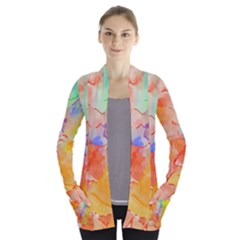 Orange Red Yellow Watercolors Texture                                                  Women s Open Front Pockets Cardigan