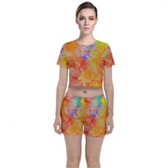 Orange Red Yellow Watercolors Texture                                                  Crop Top And Shorts Co Ord Set
