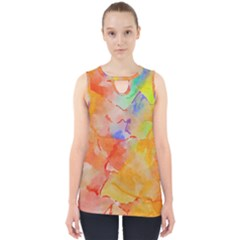 Orange Red Yellow Watercolors Texture                                                        Cut Out Tank Top by LalyLauraFLM