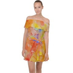 Orange Red Yellow Watercolors Texture                                                      Off Shoulder Chiffon Dress by LalyLauraFLM