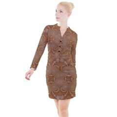 Fractal Pattern Decoration Abstract Button Long Sleeve Dress by Simbadda
