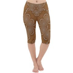 Fractal Pattern Decoration Abstract Lightweight Velour Cropped Yoga Leggings