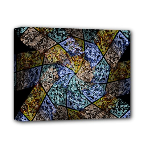 Multi Color Tile Twirl Octagon Deluxe Canvas 14  X 11  (stretched) by Simbadda