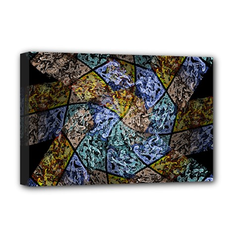 Multi Color Tile Twirl Octagon Deluxe Canvas 18  X 12  (stretched) by Simbadda
