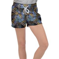 Multi Color Tile Twirl Octagon Women s Velour Lounge Shorts