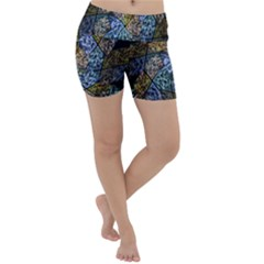 Multi Color Tile Twirl Octagon Lightweight Velour Yoga Shorts