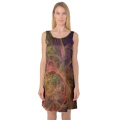 Abstract Colorful Art Design Sleeveless Satin Nightdress by Simbadda