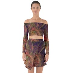 Abstract Colorful Art Design Off Shoulder Top With Skirt Set