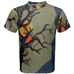 Art Drawing Abstract Blue Yellow Men s Cotton Tee