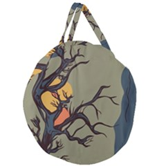 Art Drawing Abstract Blue Yellow Giant Round Zipper Tote
