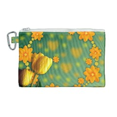 Background Design Texture Tulips Canvas Cosmetic Bag (large) by Celenk