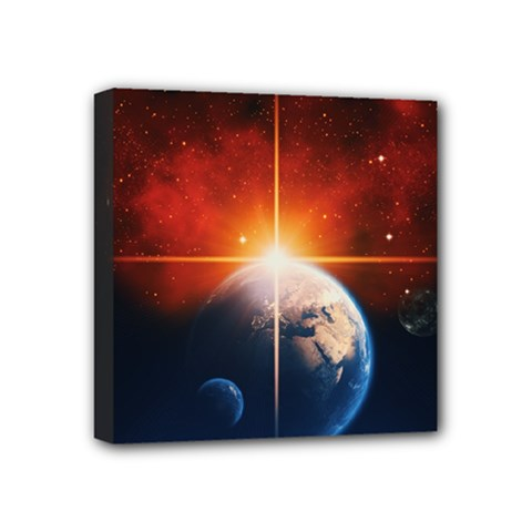 Earth Globe Planet Space Universe Mini Canvas 4  X 4  (stretched) by Celenk