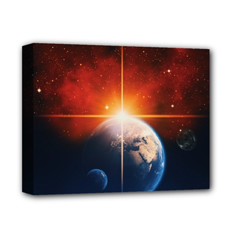 Earth Globe Planet Space Universe Deluxe Canvas 14  X 11  (stretched) by Celenk