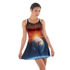 Earth Globe Planet Space Universe Cotton Racerback Dress by Celenk