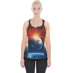 Earth Globe Planet Space Universe Piece Up Tank Top by Celenk