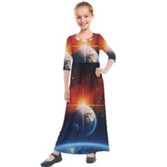 Earth Globe Planet Space Universe Kids  Quarter Sleeve Maxi Dress by Celenk