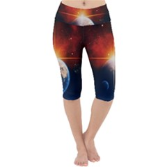 Earth Globe Planet Space Universe Lightweight Velour Cropped Yoga Leggings by Celenk