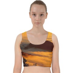 Fog Clouds Sea Of Fog Mountain Velvet Racer Back Crop Top by Celenk