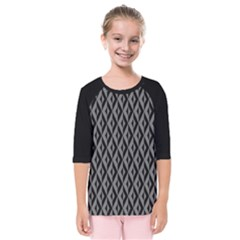 B/w Abstract Pattern 2 Kids  Quarter Sleeve Raglan Tee