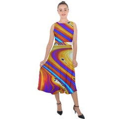Soap Bubble Color Colorful Midi Tie Back Chiffon Dress
