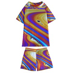 Soap Bubble Color Colorful Kids  Swim Tee And Shorts Set
