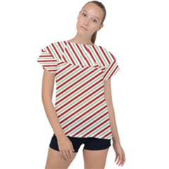 Stripes Striped Design Pattern Ruffle Collar Chiffon Blouse