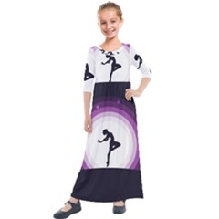Woman Moon Fantasy Composing Night Kids  Quarter Sleeve Maxi Dress by Celenk