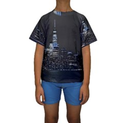 New York Skyline New York City Kids  Short Sleeve Swimwear