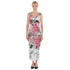 Carnations Flowers Nature Garden Fitted Maxi Dress