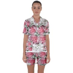 Carnations Flowers Nature Garden Satin Short Sleeve Pyjamas Set