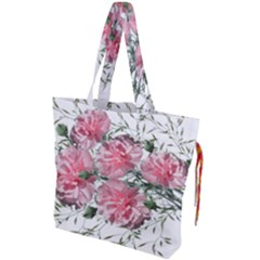 Carnations Flowers Nature Garden Drawstring Tote Bag by Celenk