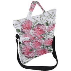 Carnations Flowers Nature Garden Fold Over Handle Tote Bag by Celenk
