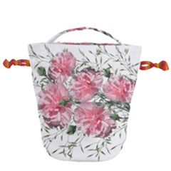 Carnations Flowers Nature Garden Drawstring Bucket Bag by Celenk