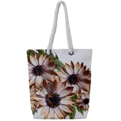 Sun Daisies Leaves Flowers Full Print Rope Handle Tote (small)