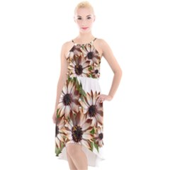 Sun Daisies Leaves Flowers High Low Halter Chiffon Dress