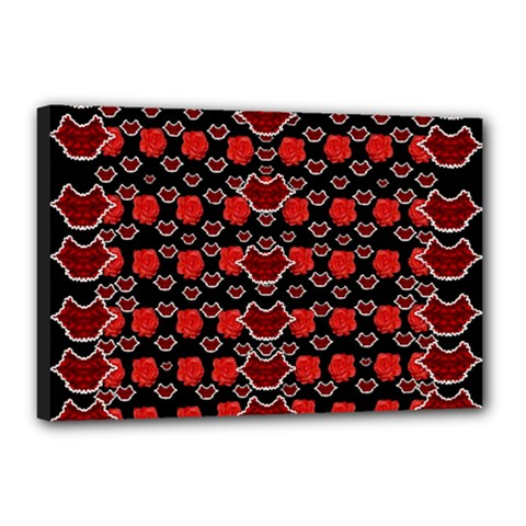 Red Lips And Roses Just For Love Canvas 18  X 12  (stretched) by pepitasart